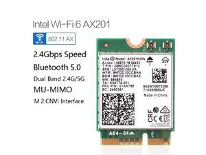 Intel Dual Band 2400Mbps Wireless Intel Wi-Fi 6 AX201 Bluetooth 5.0 NGFF Key E CNVi Wifi Card AX201NGW (CNVIO)2.4Ghz/5Ghz 802.11ac/ax,Interface:NGFF(M.2),22x30mm,just support CNVIO interface.