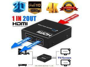 HDMI V1.3b 1x2 1 to 2 1440P Splitter 1 in 2 out for Dual Display, CORN New Ultra HD 4K 2 Port HDMI Splitter 1x2 Repeater Amplifier 1080P 3D Hub 1 In 2 Out