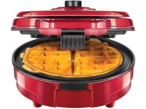 Chefman Anti-Overflow Belgian Waffle Maker w/Shade Selector, Temperature Control Mess Free Moat, Round WaffleIron w/Nonstick Plates & Cool Touch Handle, Measuring Cup Included, Red