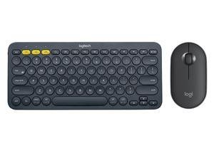 Logitech K380 Bluetooth Wireless Mini Keyboard and PEBBLE Bluetooth Mouse Thin&Light 1000DPI High Precision Optical Tracking Unifying Mouse Combo - Black