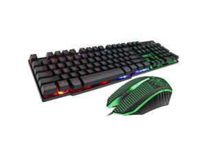 New MK-680 Wired Gaming Keyboard and Mouse Combo, Ergonomic Design USB Color Backlight Rainbow Keyboard and Mouse Set for Laptop PC