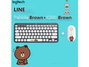 Logitech K380 LINEFRIENDS Version Black  Bluetooth Wireless Mini Keyboard and  PEBBLE Brown Bluetooth Mouse Thin&Light 1000DPI  High Precision Optical Tracking Unifying Mouse Combo