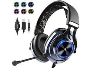 EKSA E3000 USB Gaming Headset PS4 Xbox One Headset with Noise Cancelling Mic & RGB Light - Gaming Headphones for PC, Laptop, Xbox One Controller (Adapter Not Included), PlayStation 4, Nintendo Switch