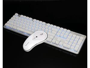 CORN GLK350 Ergonomic Design,Cool Exterior Whiteblue Backlit Spill-resistant USB Chargeable Wireless Soudless Typing Keyboard And 1800DPI Mouse Combo For Office And Game - White
