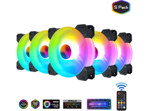 CORN 5-Pack 120mm silent RGB Fans for PC Case, RGB Case Fan with Fan Hubs, RGB 5v 3-pin Motherboard Sync, ASUS Aura, Msi, GIGABYTE Sync