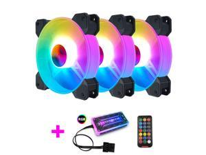 CORN 3-Pack 120mm silent RGB Fans for PC Case, RGB Case Fan with Fan Hubs, RGB 5v 3-pin Motherboard Sync,ASUS Aura,Msi,GIGABYTE Sync