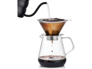 Soulhand Pour-Over Coffee Brewer Pour Over Coffee Dripper 8 Cups Coffee Maker with Separable Paperless Coffee Filter with Glass -Bouns Coffee Scoop and Brush Large Capacity Brewer 28oz