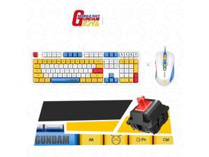 iKBC X GUNDAM  RX-78-2 Limited Version Cherry MX Red USB Wired Mechanical Gaming Keyboard and  USB Wired 5000DPI Mouse ( Mouse Pad is Not Included)