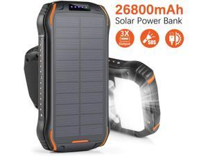 CORN Solar Charger 26800mAh, Solar Power Bank Portable Solar Panel Charger with 18 LEDs Flashlight 3 Output Ports Waterproof External Backup Battery for Outdoor Camping Hiking iOS Android (Orange)