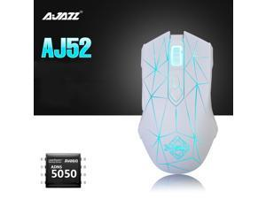 Ajazz AJ52 Watcher RGB Backlit Ergonomic Gaming Mouse, 2500 DPI A5050 7 Programmable Buttons Wired Gaming Mice for Windows Mac OS Linux, Competitor White Star