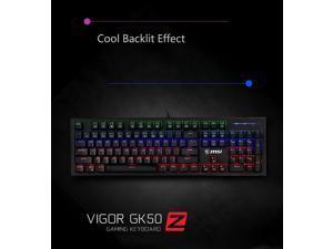 MSI GK50Z Ergonomic Design, Cool Exterior Anti-splash Mechanical Gaming Keyboard, N-key Rollover and RGB Backlit