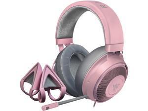 Razer Kraken 3.5mm Gaming Headset + Kitty Ears Bundle: Lightweight Aluminum Frame - Retractable Noise Cancelling Mic - Quartz Pink