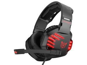 ONIKUMA K17 Over-Ear Noise Reduction Gaming Headphones,HD Stereo LED Light 3.5mm Audio+USB Port with Plugable Mic – Red