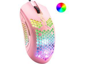 Wired Lightweight Gaming Mouse,26 RGB Backlit Mice with 7 Buttons Programmable Driver, PAW3325 12000DPI Mice, Ultralight Honeycomb Shell Ultraweave Cable Mouse for PC Gamers and Xbox and PS4 Users