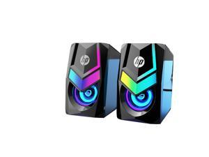 HP DHE-6000 Eagle Eyes RGB  Backlit USB +3.5mm Port Speaker with 3D Stereo Sound Effect for PC and Laptop