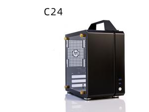 C24 Black Portable MINI Computer Case (Support ITX Motherboard/A4 Aluminum/Side-Opening Glass Side Through)