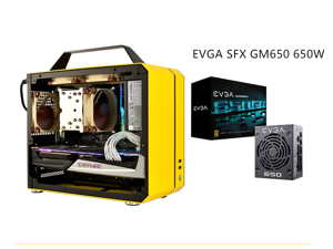 C26 Yellow Portable MINI Computer Case (Support ITX Motherboard/A4 Aluminum/Side-Opening Glass Side Through)+EVGA SFX GM650 650W