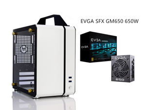 C24 White Portable MINI Computer Case (Support ITX Motherboard/A4 Aluminum/Side-Opening Glass Side Through)+EVGA SFX GM650 650W