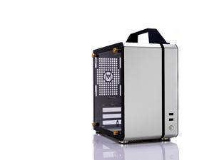 C24 Silver Portable MINI Computer Case (Support ITX Motherboard/A4 Aluminum/Side-Opening Glass Side Through)