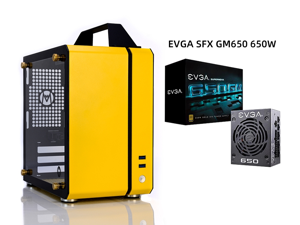 C24 Yellow Portable MINI Computer Case (Support ITX Motherboard/A4 Aluminum/Side-Opening Glass Side Through)+EVGA SFX GM650 650W