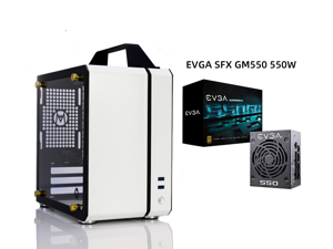 C24 White Portable MINI Computer Case (Support ITX Motherboard/A4 Aluminum/Side-Opening Glass Side Through)+EVGA SFX GM550 550W