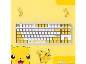 Langtu  Ergonomic Design F87 Compact Layout 87Keys  Mechanical Gaming  Keyboard with White Backlit, PBT Keycaps, Hot-swappable( Pikachu White Base)