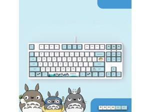 Langtu  Ergonomic Design F87 Compact Layout 87Keys  Mechanical Gaming  Keyboard with White Backlit, PBT Keycaps, Hot-swappable( Totoro-White Base)