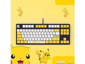 Langtu  Ergonomic Design F87 Compact Layout 87Keys  Mechanical Gaming  Keyboard with White Backlit, PBT Keycaps, Hot-swappable( Pikachu Black Base)