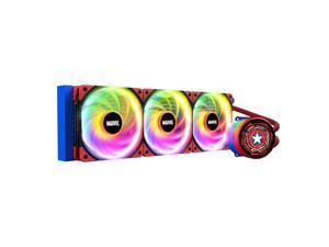 Tt Thermaltake Captain America Chinese Special Edition CPU Water cooling 360 Radiator, Rotating OLED screen water cooling, Three PWM Silent 120mm fans