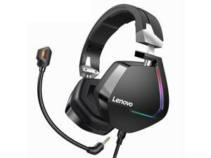 Lenovo H402 Gaming Headphone USB 7.1 Surround Sound Deep Bass RGB Colorful Light Headset with Mic for PC Laptop Gamer - 3.5mm+USB