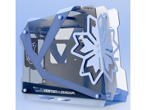 CORN ZC-09 Joint Micro ATX / iTX Tempered Blue Computer Case - Support 360mm Liquid Cooling
