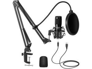USB Microphone Kit, Plug & Play 192kHz/24-Bit Supercardioid Condenser Mic with Boom Arm and Shock Mount for YouTube Vlogging, Gaming, Podcasting, and Zoom Calls, NW-8000-USB, Black