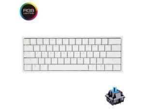 Ducky One 2 mini RGB, All Non-conflicting 61Keys, Cherry MX Blue Mechanical RGB Backlit Gaming Keyboard - White