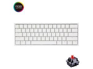 Ducky One 2 mini RGB, All Non-conflicting 61Keys, Cherry MX Red Mechanical RGB Backlit Gaming Keyboard - White