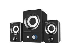CORN USB Powered Computer Speakers System (X7 Black) for Gaming/Music/Movies, Active Multimedia Stereo Subwoofer for Laptop/Desktop/Lenovo/HP/ThinkPad/IBM/DELL/SONY/MACFEE/SAMSUN/ACER/Microsoft/PC