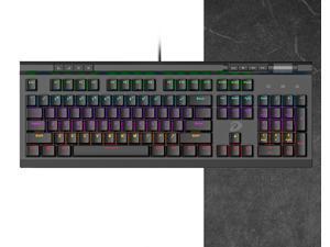 Dareu EK812 Multimedia Mechanical Gaming Keyboard with RGB LED Backlit,104 Keys Anti-ghosting Ergonomic USB Wired PC Gaming Keyboards (Black,Red Switch)