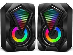 Computer Speakers X2 Wired PC Speaker 2.0 USB Gaming Powered Stereo Mini Multimedia Volume Control with RGB Lights 3.5mm Aux Input for Phone Tablets Desktop Laptop