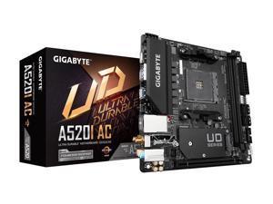 GIGABYTE A520I AC mITX AM4 Direct 6 Phases Digital PWM with 55A DrMOS, GIGABYTE Gaming GbE LAN, Intel WiFi+Bluetooth, NVMe PCIe 3.0 x4 M.2, 3 Display Interfaces, Q-Flash Plus, RGB Fusion 2.0, Motherb