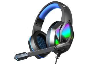 CORN H100 Gaming Headset with Mic Stereo Earphones for PC Computer Gamer Laptop PS4 New X-BOX,50mm Drivers, In-line Control, RGB LED Light & Noise Isolation
