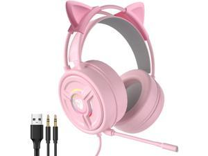 CORN PSH-200 7.1 Surround Sound Gaming Headset with Noise Cancelling Mic, 50MM Drivers, Stereo Surround, Soft Earmuffs Headphone with 3.5MM & Mic & LED Light