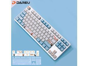 Dareu EK807 Blue Cat Theme Theme 87 Keys Compact Layout Mechanical Gaming Keyboard,Wireless Keyboard Bluetooth 2.4G,Black Switch,ABS Keycaps-Blue