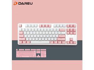 Dareu EK807 Cherry Theme 87 Keys Compact Layout Mechanical Gaming Keyboard,Wireless Keyboard Bluetooth 2.4G, Blue Switch,ABS Keycaps-Pink