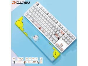 Dareu EK807 White Cat Theme 87 Keys Compact Layout Mechanical Gaming Keyboard,Wireless Keyboard Bluetooth 2.4G,Red Switch,ABS Keycaps--Blue Hand Rest