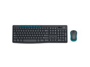 Logitech Wireless Combo MK275 8 Function Keys USB 2.0 RF Wireless Keyboard & Mouse - Black&Blue