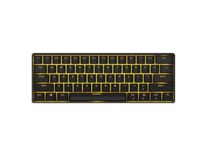 Royal Kludge RK61 Mechanical Bluetooth 3.0 Wired/Wireless 61 Keys Multi-Device LED Backlit Gaming/Office Keyboard for iOS, Android, Windows and Mac with Rechargeable Battery, Blue Switch - Black