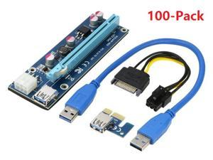 100-Pack Ver006C Mining Dedicated PCIe Riser Cable Card Riser Adapter Cryptocurrency PCI Express 1X to 16X Extender Mining Rig 60cm USB 3.0 6Pin Power