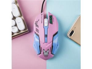 Overwatch OW D.VA Design Cosplay Pink LED USB Wired 2400DPI 6 Buttons Gaming Mouse