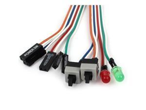"""20"""" 2 Pin Connector Momentary Power SW Button Reset HDD Switch Cable with LED Light for PC Computer"""
