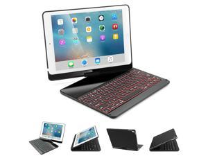Corn iPad Keyboard Case Folio Smart 360 Rotate Stand Cover 7-Color LED Backlit Bluetooth Keyboard Case for 2017 New iPad 9.7, iPad pro 9.7, iPad Air, iPad Air 2 - Black