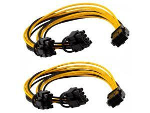 2-Pack 6 pin to 2 x PCIe 8 (6+2) pin Graphics Card PCI-e Express VGA Splitter Power Extension Cable